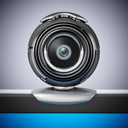 Generic computer webcam on laptop computer. 3D illustration.