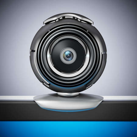 Generic computer webcam on laptop computer. 3D illustration.