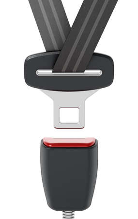Seatbelt isolated on white background. 3D illustration.