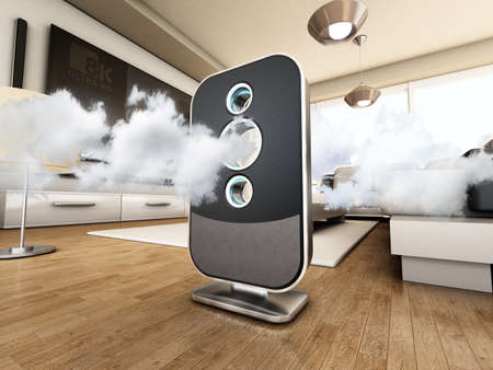 Air purifier cleans the air inside the living room. 3D illustration. Stock Photo
