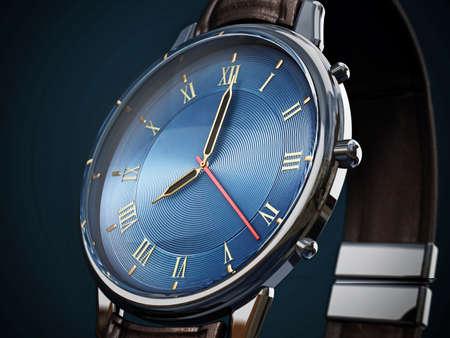 Classic men's watch detail on dark background. 3D illustration. 免版税图像