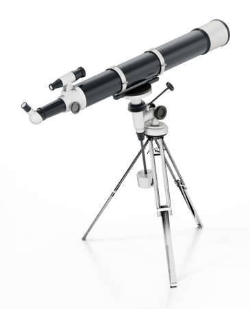 Telescope isolated on white background. 3D illustration.