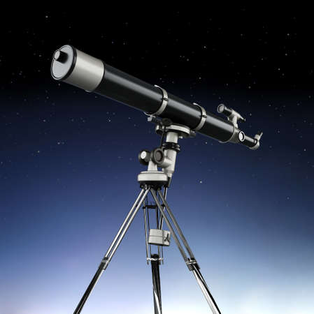 Telescope aimed at the sky on night background. 3D illustration. Stock Photo