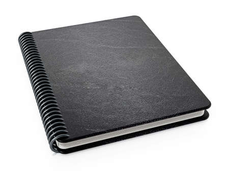 Black notepad isolated on white background. 3D illustration. Stock Photo