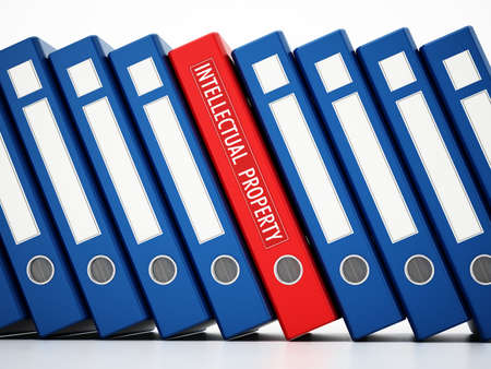 Red folder with intellectual property label standing out among regular folders. 3D illustration.