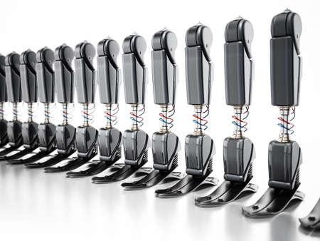 Modern prosthetic legs isolated on white background. 3D illustration.