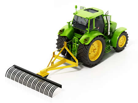 Green tractor with attached farming tool isolated on white background. 3D illustration.