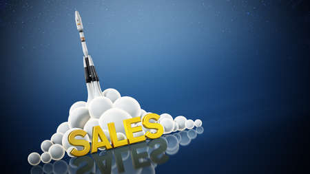 Sales text standing in front of a launching rocket. Business and success concept. 3D illustration.