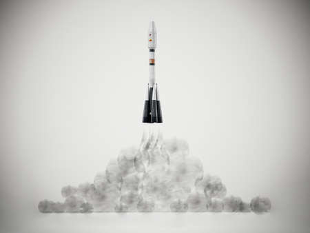 3D illustration of a launching space rocket. 3D illustration.