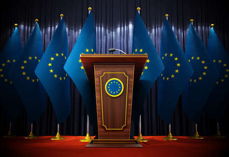 Group of European Union flags standing next to lectern in the conference hall. 3D illustration.