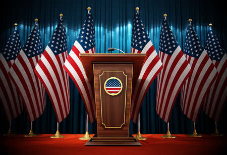 Group of American flags standing next to lectern in the conference hall. 3D illustration.