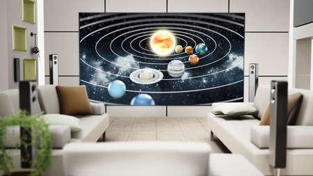 Modern LED TV inside the room 版權商用圖片