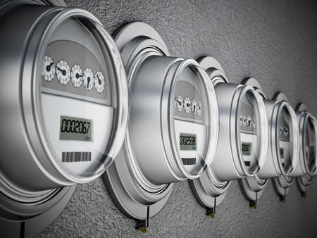 Energy efficient smart electric meters in a row. 3D illustration. Stock Photo