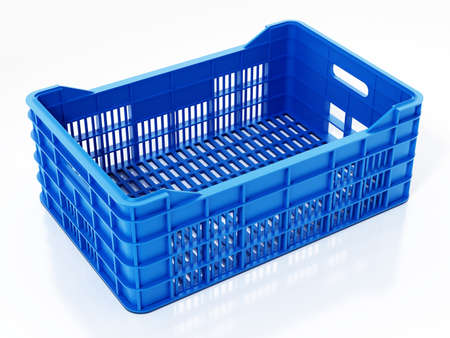 Blue fruit crate isolated on white background. 3D illustration.
