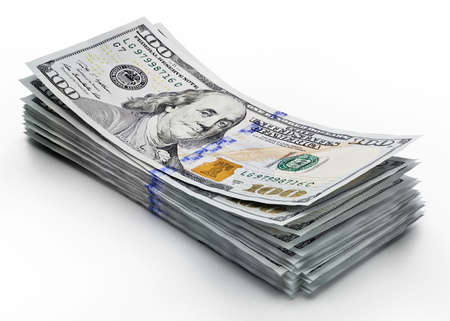 Stack of 100 dollar bills isolated on white background. 3D illustration 免版税图像