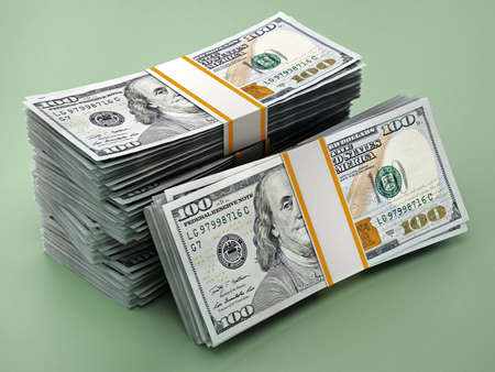 Stack of 100 dollar bills on green background. 3D illustration