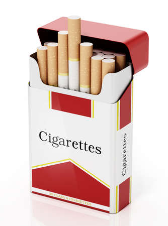 Cigarettes inside fictitious package isolated on white background. 3D illustration.