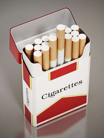 Cigarettes inside fictitious package. 3D illustration.
