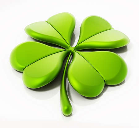 Four leaf clover isolated on white background. 3D illustration. 免版税图像
