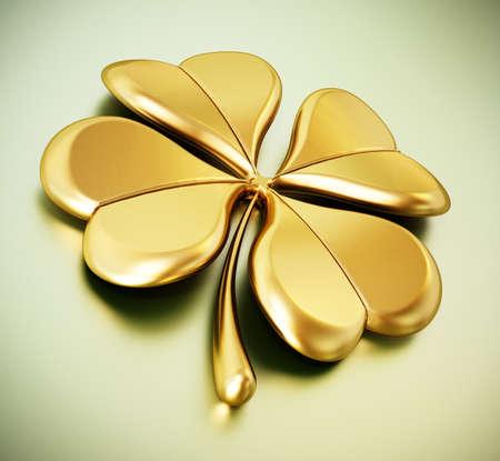Golden four leaf clover on green background. 3D illustration.