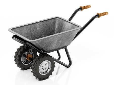 Wheelbarrow isolated on white background. 3D illustration.