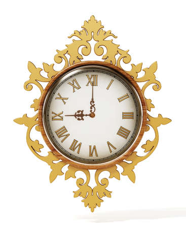 Classic ornamental wall clock isolated on white background. 3D illustration. Stock Photo