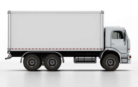Truck with white blank trailer. 3D illustration. 版權商用圖片