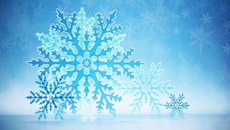 Abstract soft blue snowflake background. 3D illustration. 版權商用圖片