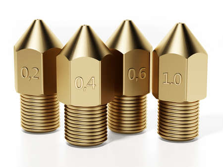 Brass 3D printer nozzles isolated on white background. 3D illustration. 版權商用圖片