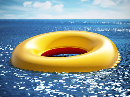 Life buoy on the sea surface. 3D illustration.
