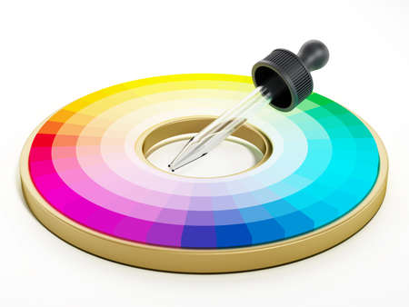 Color picker and color wheel isolated on white background. 3D illustration.