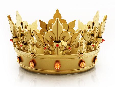 Golden crown isolated on white background. 3D illustration. 版權商用圖片