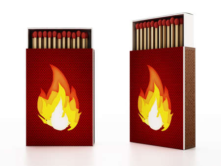 Matches inside open matchboxes isolated on white background. 3D illustration.
