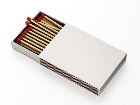 Matches inside open matchbox isolated on white background. 3D illustration.