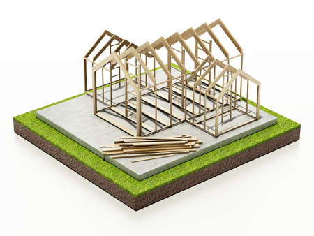 Wooden house structure on concrete base. 3D illustration.