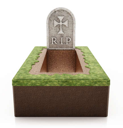 Open grave with gravestone isolated on white background. 3D illustration.