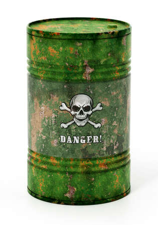 Toxic barrell with skull and bones and danger text. 3D illustration. 版權商用圖片