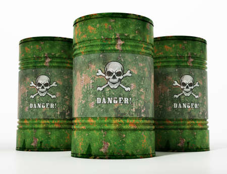 Toxic barrells with skull and bones and danger text. 3D illustration.
