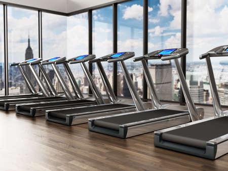 Treadmills inside a sports center in upper floors. 3D illustration. 版權商用圖片