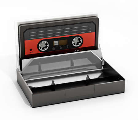 Vintage audio cassette and cassette case isolated on white background. 3D illustration.