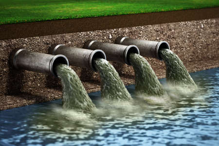 Dirty water pouring into the water from sewer pipes. 3D illustration.