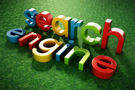 Search engine text standing on green PCB texture. 3D illustration.