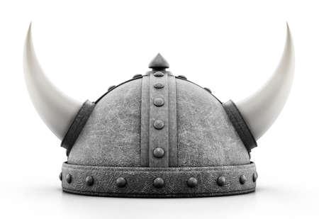 Viking helmet isolated on white background. 3D illustration.