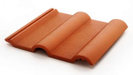 Roof tile isolated on white background. 3D illustration. 版權商用圖片