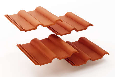 Roof tiles isolated on white background. 3D illustration.