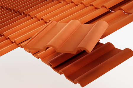 Group of roof tiles isolated on white background. 3D illustration.