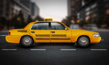 Yellow taxi cab on the road. 3D illustration.