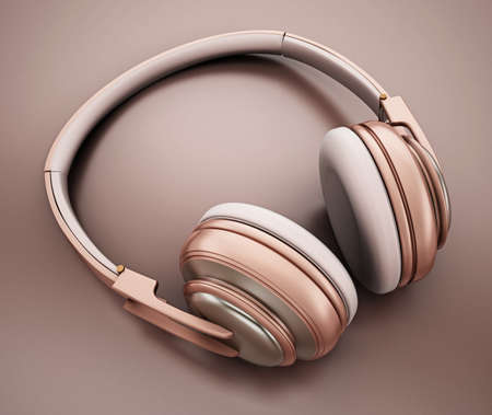 Rose gold headphones. 3D illustration.