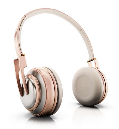 Rose gold headphones isolated on white background. 3D illustration.