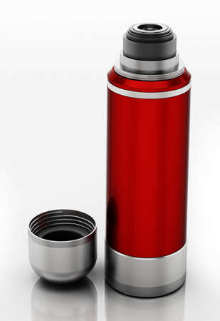 Generic vacuum bottle with open lid isolated on white background. 3D illustration. 版權商用圖片